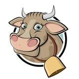Vaca divertida de la historieta Fotos de archivo