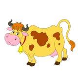Vaca divertida de los personajes de dibujos animados Una vaca con una campana Imágenes de archivo libres de regalías