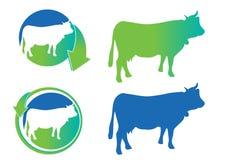 A vaca do vetor mostra em silhueta ícones Imagem de Stock Royalty Free