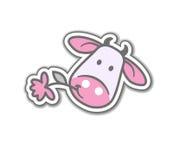 Vaca dos desenhos animados com flor Fotos de Stock Royalty Free
