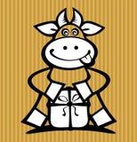 Vaca dos desenhos animados com presente Imagens de Stock Royalty Free