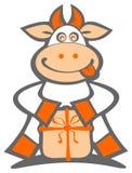 Vaca dos desenhos animados com presente Fotos de Stock Royalty Free