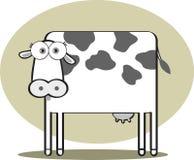 Vaca dos desenhos animados em preto e branco Fotos de Stock Royalty Free