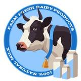 Vaca e leite Foto de Stock