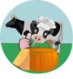vaca e queijo adesivos Fotografia de Stock Royalty Free