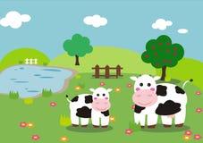 Vaca e vitela Imagem de Stock Royalty Free