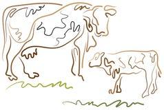 Vaca e vitela ilustração royalty free