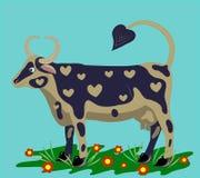 Vaca em um gramado. ilustração do vetor