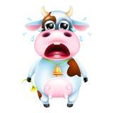 Vaca emocional bonito dos desenhos animados com sino e flor Imagem de Stock