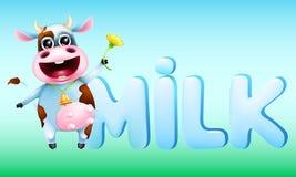 Vaca emocional bonito e o leite da palavra Fotos de Stock Royalty Free