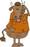 Vaca en un teléfono celular ilustración del vector