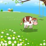 Vaca en una granja stock de ilustración