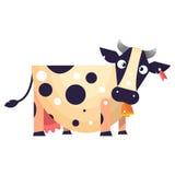 Vaca engraçada com a etiqueta na orelha e sino no pescoço Imagens de Stock Royalty Free