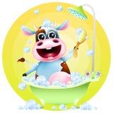 Vaca engraçada dos desenhos animados no banho Fotos de Stock