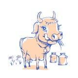Vaca engraçada isolada do esboço para o produto de leite Foto de Stock Royalty Free