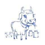Vaca engraçada isolada do esboço para o produto de leite Fotos de Stock Royalty Free