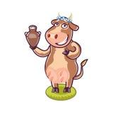 Vaca feliz dos desenhos animados que guarda o leite Fotografia de Stock