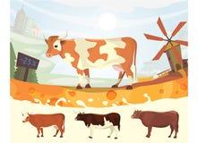 Vaca linda con el ejemplo del vector de Milk River granja colorida del fith del paisaje animal del mamífero de la historieta Foto de archivo