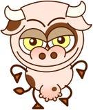 Vaca linda en humor dañoso stock de ilustración