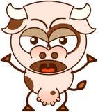 Vaca linda en un humor muy enojado stock de ilustración