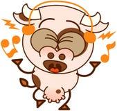 Vaca linda que escucha la música y que canta ilustración del vector