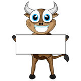 Vaca linda que lleva a cabo una muestra en blanco Fotografía de archivo