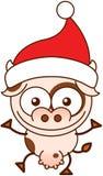 Vaca linda que lleva el sombrero de Papá Noel y que celebra la Navidad ilustración del vector