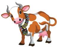 Vaca manchada marrom dos desenhos animados com sino ilustração stock