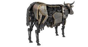 Vaca mecánica del robot en estilo del stiunk en un fondo blanco aislado ilustración 3D