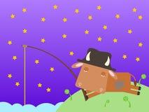 Vaca na pesca da noite ilustração do vetor