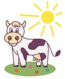 A vaca no prado e no sol está brilhando Car?ter alegre ilustração do vetor