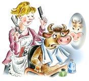 Vaca no salão de beleza do hairdressing ilustração royalty free