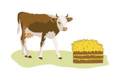 Vaca o becerro con la pila de heno ilustración del vector