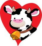 Vaca preto e branco em um coração Foto de Stock Royalty Free