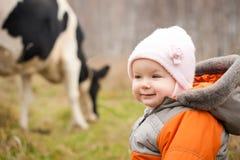 Vaca que introduce cercana del retén del bebé Imágenes de archivo libres de regalías