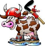 Vaca que juega deporte del hockey