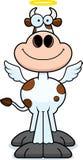 Vaca santamente de sorriso dos desenhos animados Fotos de Stock Royalty Free