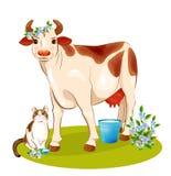 Vaca y gato felices ilustración del vector