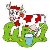 Vaca y leche Imagenes de archivo