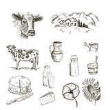 Vaca y leche stock de ilustración