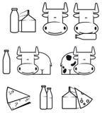 Vaca y productos lácteos Imagenes de archivo