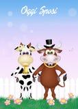 Vaca y toro casados stock de ilustración