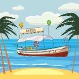 Vacaciones, barco del ocio, palma, bandera, ejemplo del vector, estilo de la historieta, aislado Foto de archivo