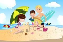 Vacaciones de familia de la playa stock de ilustración