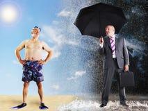 Vacaciones de Imagining Of Summer del hombre de negocios Foto de archivo