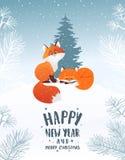 Vacaciones de invierno de Foxs stock de ilustración