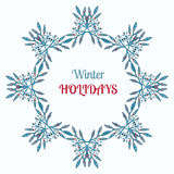 Vacaciones de invierno guirnalda y decoración del ornamento El diseño y el vintage de la tarjeta de felicitación del deseo de la  Fotografía de archivo libre de regalías