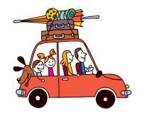 Vacaciones de la familia de cuatro miembros, coche con el ejemplo del vector del viaje del equipaje Foto de archivo libre de regalías