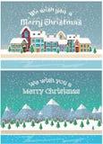 Vacaciones de la Navidad Pequeña ciudad en nevadas Fotos de archivo