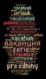 Vacaciones de la palabra en otros idiomas Fotos de archivo libres de regalías